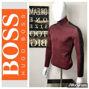 Hugo Boss Maroon Knitted Color-Block Sweater M